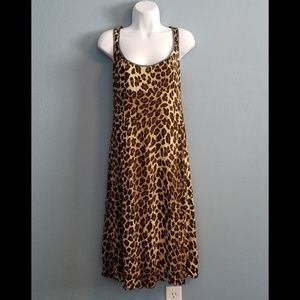 Nanette Lepore Leopard Print Dress Teal Accents